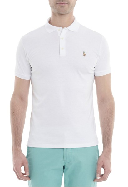 Polo manches courtes logo Blanc