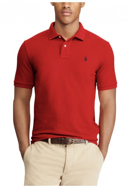 Polo manches courtes slim fit Rouge