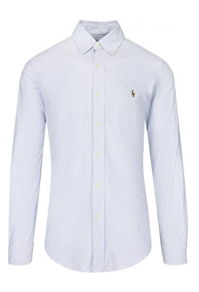 Chemise manches longues slim fit Blanc/bleu