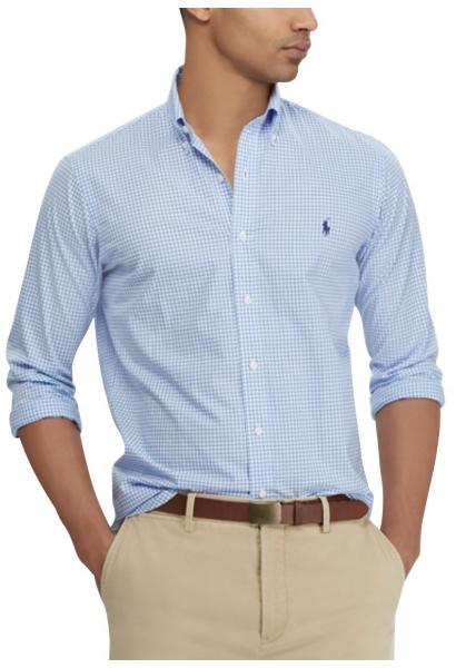 Chemise manches longues popeline Blanc/bleu