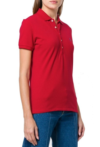 Polo skinny manches courtes logo Rouge