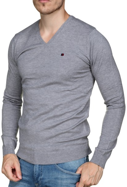 Pull col en v PIKO Gris chine