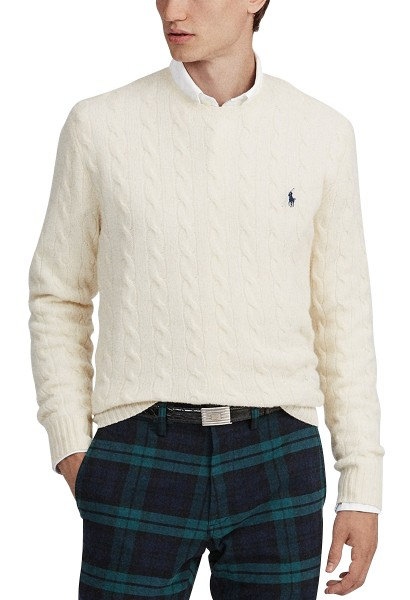 LS CABLE CNLONG SLEEVESWEATER Blanc casse