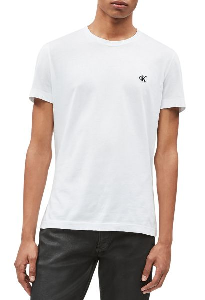 Tee shirt manches courtes slim col rond CK ESSENTIAL Blanc