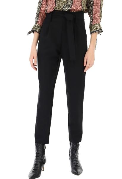 Pantalon taille haute noeud à la taille Noir
