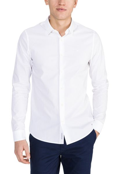 Chemise slim stretch manches longues CK CHEST LOGO Blanc
