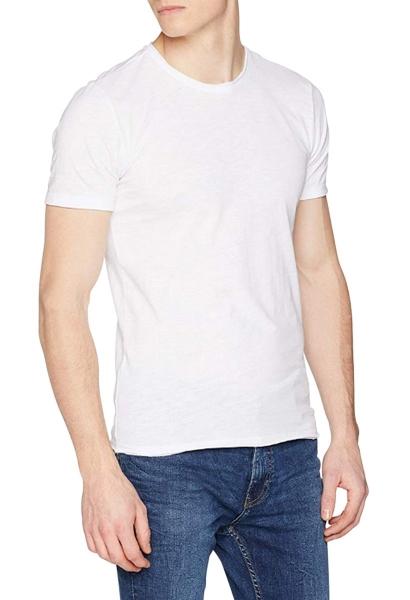 Tee shirt manches courtes basic col rond uni TUROS Blanc