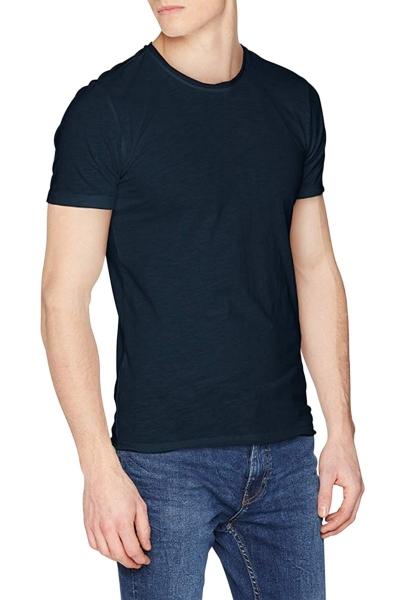 Tee shirt manches courtes basic col rond uni TUROS Bleu marine