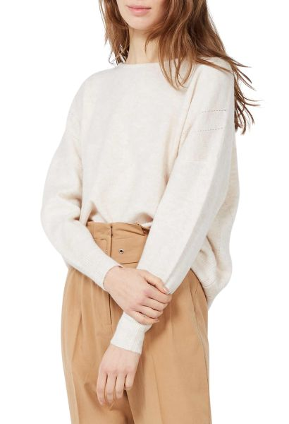 Pull large col rond Beige