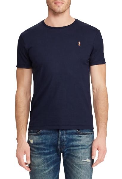 Tee shirt slim manches courtes Bleu marine