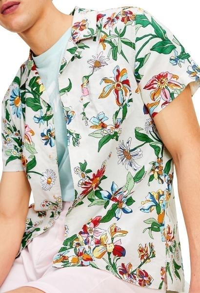 Chemise manches courtes fleuris