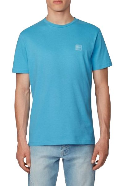Tee shirt basic col rond TALES Bleu turquoise