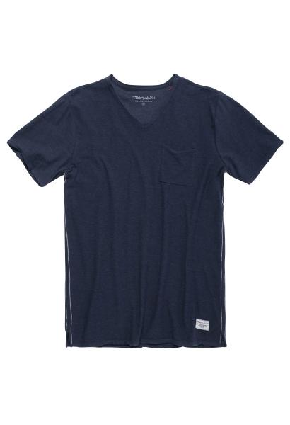 Tee shirt manches courtes basic col v uni AGO Bleu marine