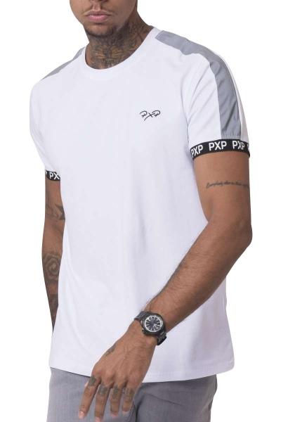 Tee shirt col rond manches courtes avec bandes réfléchissantes Blanc
