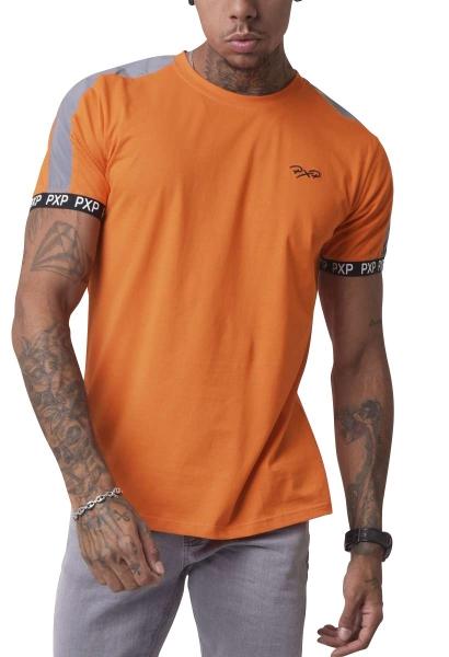 Tee shirt col rond manches courtes avec bandes réfléchissantes Orange