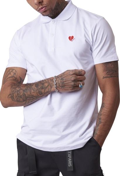 Polo basic manches courtes coeur brisé Blanc
