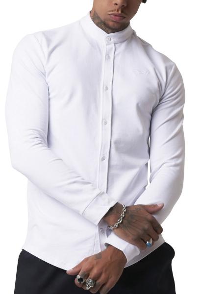 Chemise manches longues basic col mao Blanc