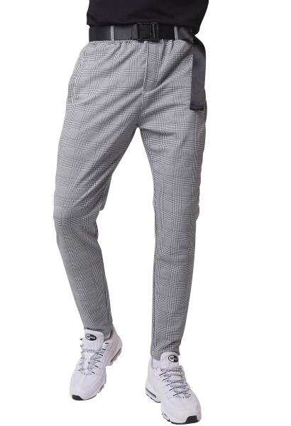 Pantalon droit à carreaux avec ceinture Noir