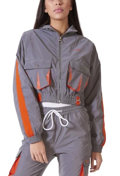 Veste courte réfléchissante avec poche sur le devant Orange