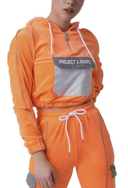 Sweat crop à capuche poche réfléchissante Orange