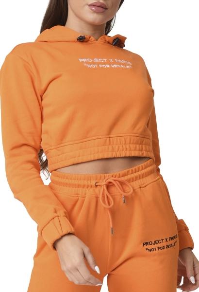 Sweat crop à capuche Orange