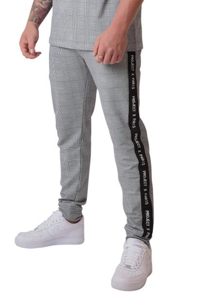 Pantalon à carreaux et bande sur le côté Noir