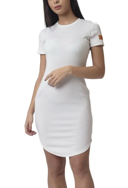 Robe courte manches courtes moulante bas arrondi Blanc