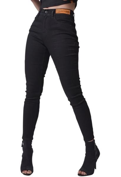 Jean skinny étiquette logo à la taille Noir