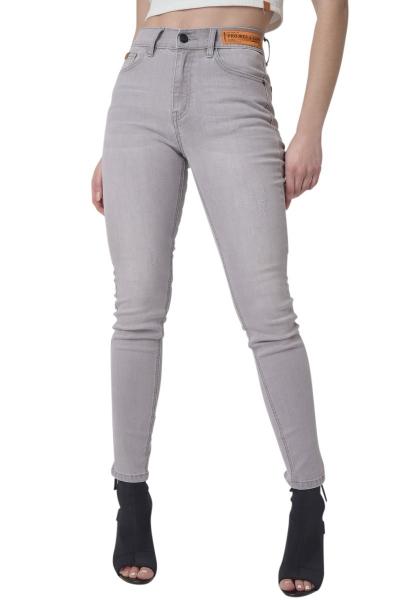 Jean skinny étiquette logo à la taille Gris clair