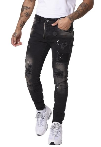 Jean skinny déchiré et tacheté de peinture avec zip apparent Noir