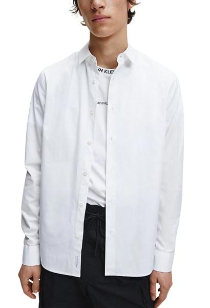 Chemise manches longues slim CK CHEST LOGO Blanc