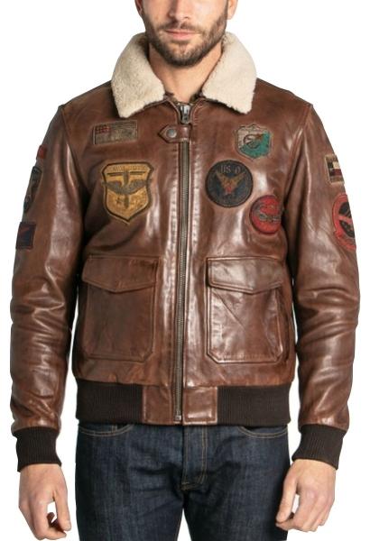 Blouson aviateur multi patchs MYTHIC Marron