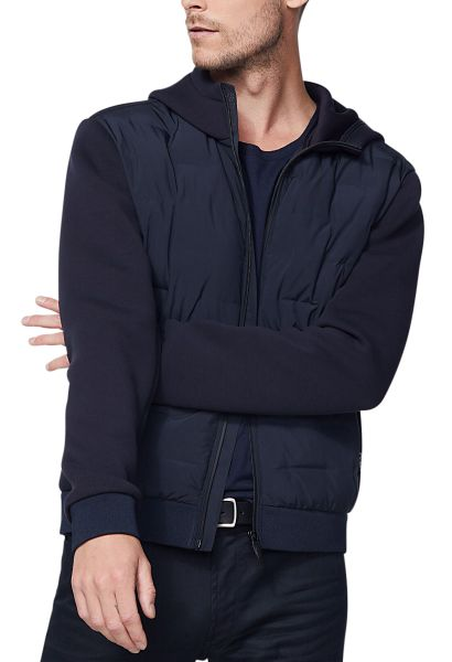 Veste bimatière à capuche Bleu marine