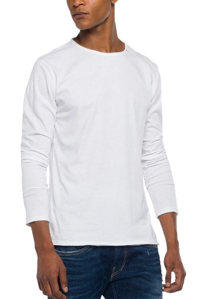 Tee shirt manches longues col rond Blanc