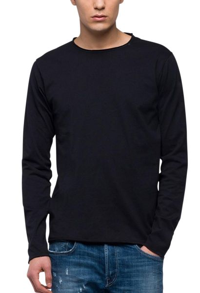 Tee shirt manches longues col rond Noir