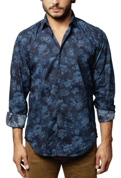 Chemise manches longues fleurie Bleu indigo