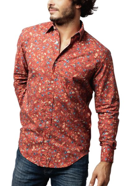 Chemise manches longues fleurie Rouge