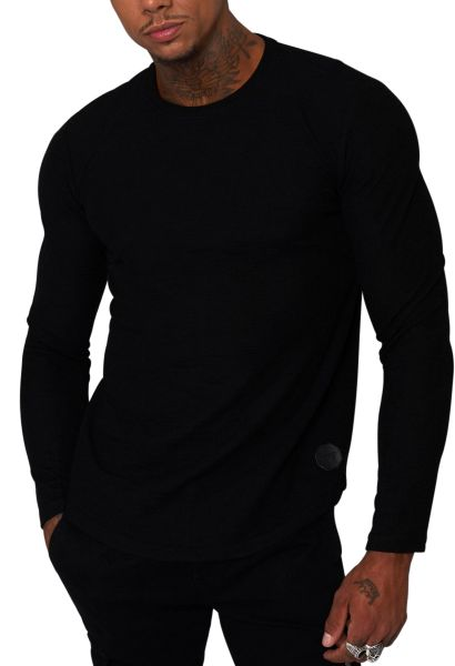 Tee shirt basic manches longues col rond Noir