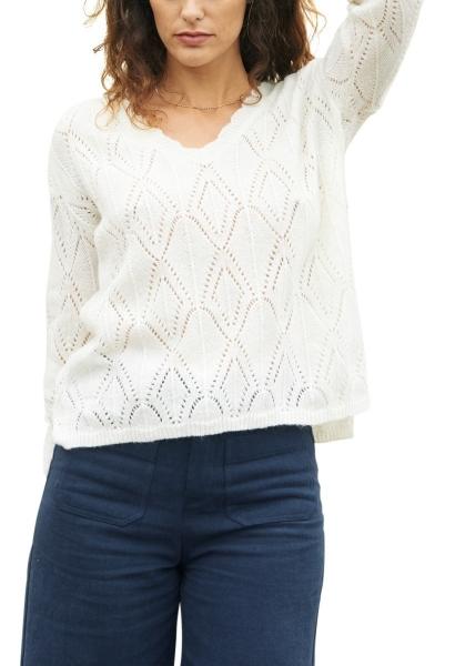 Pull en tricot maille ajourée col v épaule boutonnée BABYLONE Ecru
