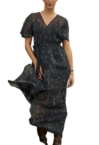 Robe longue en mousseline imprimée col v BELLA Noir
