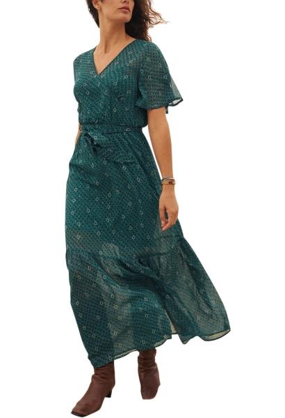Robe longue en mousseline imprimée col v BELLA Vert