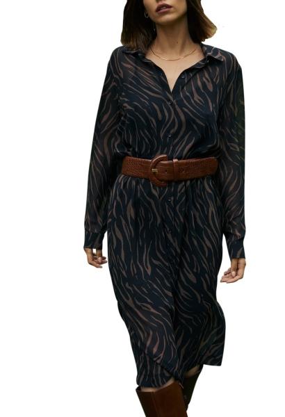 Robe chemise midi en mousseline ceinturée BERTHA Chocolat