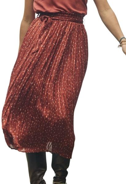 Jupe longue plissée imprimée BEVERLY Rouge brique