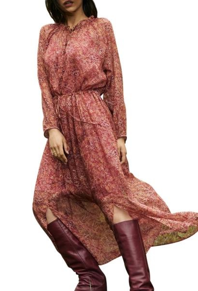 Robe longue en mousseline imprimée ceinturée BIANCA Bordeaux