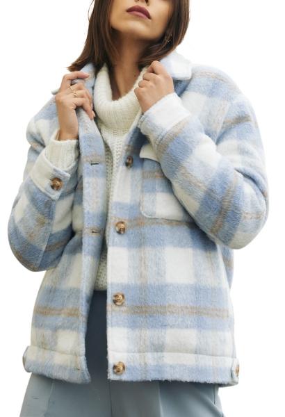 Veste à carreaux col italien coupe décontractée BLANDINE Bleu