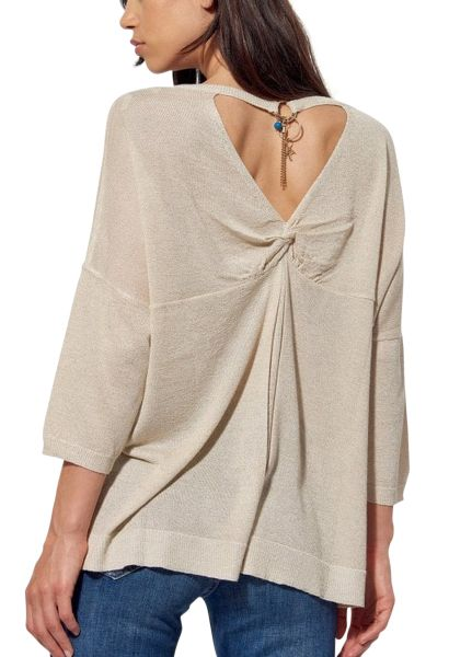 Pull fin col v dos ouvert AIME Blanc
