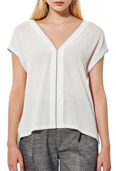 Tee shirt manches courtes liseré lurex AKILA Blanc