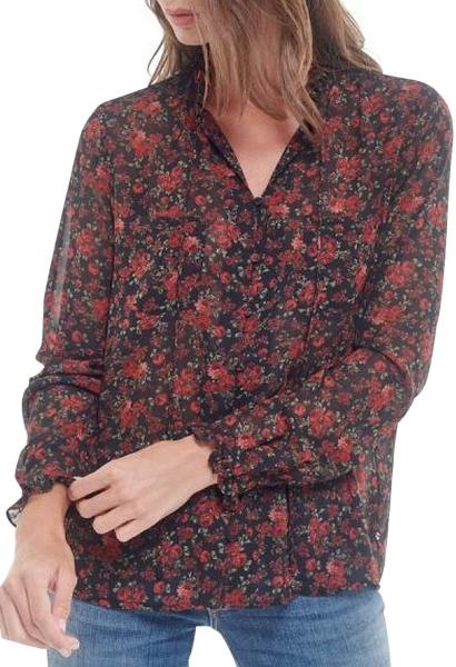 Chemise manches longues imprimé fleuri CLELIA Rouge
