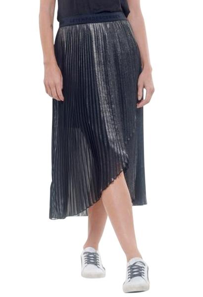 Jupe longue plissée drapée taille élastique KIMBERLY Argent