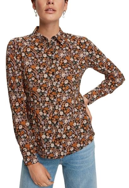 Chemise manches longues imprimé fleuri Orange